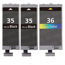 Canon PGI-35 & CLI-36 Black & Color 3-pack Ink Cartridges