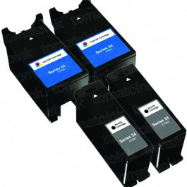 Dell (Series 24) T109N Black & T110N Color 4-pack Ink Cartridges