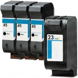 HP 45 Black & HP 23 Color 4-pack Ink Cartridges
