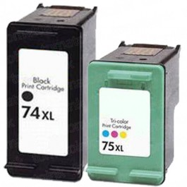 HP 74XL Black & HP 75XL Color 2-pack High Yield Ink Cartridges