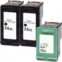 HP 74XL Black & HP 75XL Color 3-pack High Yield Ink Cartridges