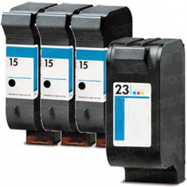 HP 15 Black & HP 23 Color 4-pack Ink Cartridges