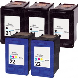 HP 21 Black & HP 22 Color 5-pack Ink Cartridges