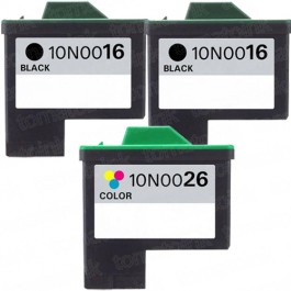 Lexmark #16 Black & #26 Color 3-pack Ink Cartridges