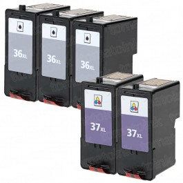 Lexmark #36XL Black & #37XL Color 5-pack HY Ink Cartridges