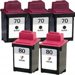 Lexmark #70 Black & #80 Color 5-pack Ink Cartridges