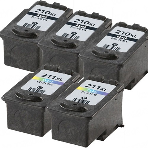 Canon PG-210XL Black & CL-211XL Color 5-pack High Yield Ink Cartridges