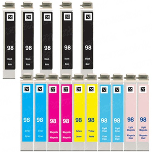 Epson 98 99 T098 T099 Black & Color 15-pack HY Ink Cartridges