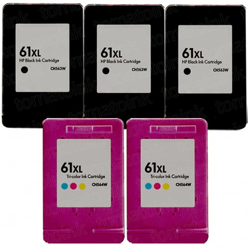 HP 61XL High Yield Black & Color 5-pack Ink Cartridges