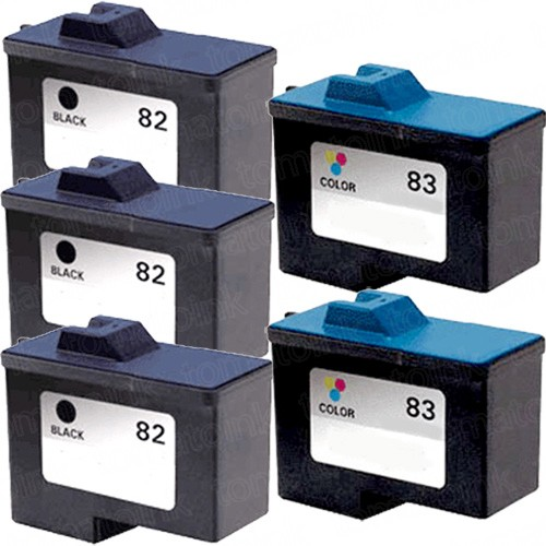 Lexmark #82 Black & #83 Color 5-pack Ink Cartridges