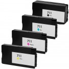 HP 711 Black & Color 4-pack High Yield Ink Cartridges