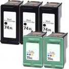 HP 74XL Black & HP 75XL Color 5-pack High Yield Ink Cartridges
