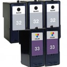 Lexmark #32 Black & #33 Color 5-pack Ink Cartridges