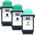 Lexmark #50 Black & #60 Color 3-pack Ink Cartridges