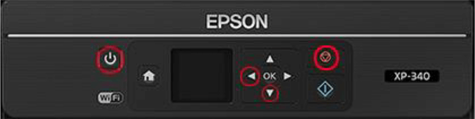 Epson XP-340 printer display