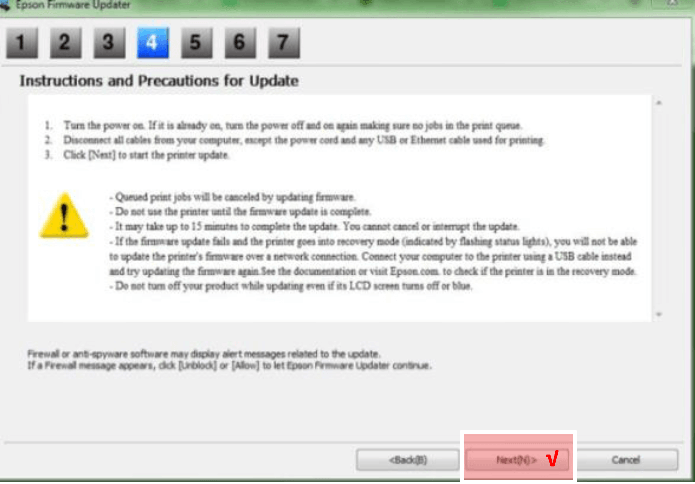Epson Firmware Updater step 4